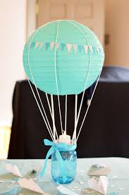 tiffany blue hot air balloon centerpiece for a boy baby shower