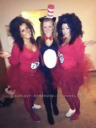 last minute y girls group costume thing 1 thing 2 and cat in