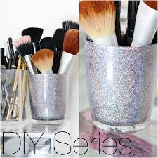 diy holographic makeup brush holder