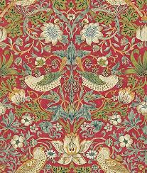morris strawberry thief red green wallpaper