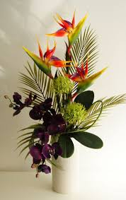 Artificial Floral Arrangements For Interior Decor: Exotic Artificial Flower  Arrangement Tropical Colours In Cream For