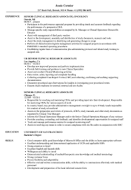 Clinical Research Associate Resume Sample Senior Clinical Research Associate Resume Samples Velvet Jobs 2