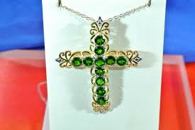 expensive russian chrome diopside 14kt platinum over 925 s s cross 20 chain