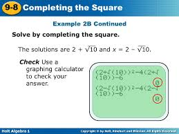 example 2b continued solve by completing the square the solutions are 2 10