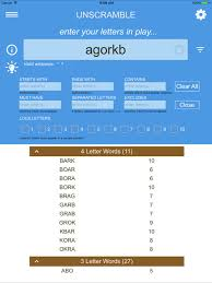 unscramble letters on the app