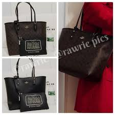Coach Travel Oversized Large Multifunction Monogram Tote in black brown.  12345