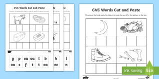Most cvc words activities suggest reading the words aloud to pronounce consonant and short vowel sounds. Phase 3 Vc Words Cut And Paste Activity Teacher Made
