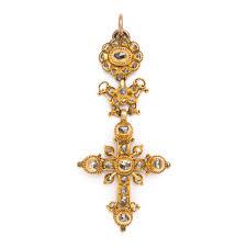 antique gold and old mine diamond pendant cross