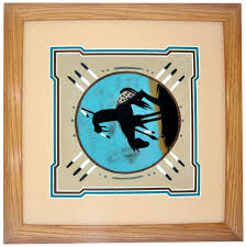 called end of the trial this colorful sand painting was created by artist virginia tyler who belongs to the navajo tribe it is framed in walnut wood and