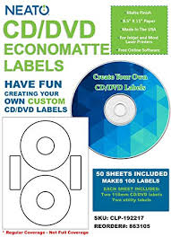 How To Label Dvds Amazon Com Neato Cd Dvd Economatte Labels 50 Sheets Makes 100