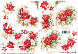 Poinsettia Designs Christmas Poinsettia Flowers With Candles Ribbons 3d Decoupage Sheet