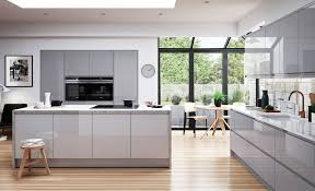 modern white and gray kitchen. Strada Gloss Handless Range From Kitchen Stori In Light Grey \u0026 Dust Modern White And Gray P