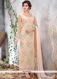 Salwar Kameez Latest Designs Online Faux Chiffon Embroidered Designer Salwar Kameez
