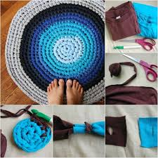 diy upcycled crochet rag rug from old t shirts how to make a square t shirt