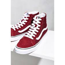 vans shoes red and black high tops. vans sk8-hi slim sneaker ($55) ❤ liked on polyvore featuring shoes, shoes red and black high tops