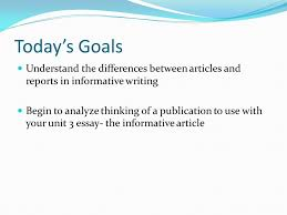 unit goals utilize genre and discipline specific visual rhetoric between articles and reports in informative writing begin to analyze thinking of a publication to use your unit 3 essay the informative article