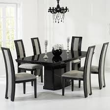 Hamlet Marble Dining Table In Black With 6 Allie Grey Chairs