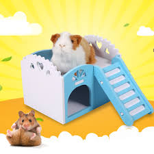 eecoo 3colors pet hamster rat small animal castle sleeping house nest exercise toy pet house guinea pig house com