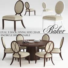 baker oval x back dining side chair encircle dining table 3d model max obj stl mtl