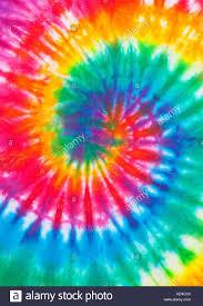 Tie Dye Swirl Design Tie Dye Rainbow Spiral Pattern Close Up Stock Photo