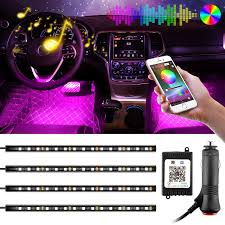 Amazon Car Lights Car Led Strips Chareada 4pcs 60 Leds Interior Car Lights Waterproof Multi Color Under Dash Lighting Kit With Sound Music Function Bluetooth