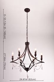 mirrea vintage crystal chandeliers pendant lights no shade oil rubbed dark bronze 6 lights of candelabra