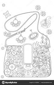 Coloring Book Page For Adults Grown Ups Bag With Flowers And