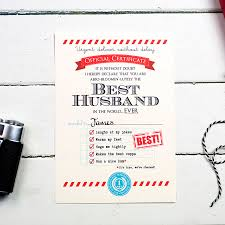 Personalised Best Husband Certificate By Eskimo Kiss Designs