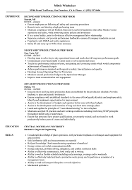 Production Supervisor Resume Sample Shift Production Supervisor Resume Samples Velvet Jobs 12