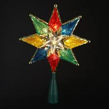5 POINT CAPIZ STAR WITH WIRE RAYS AND ACRYLIC BEADS ACCENT Christmas Tree Lighted Star