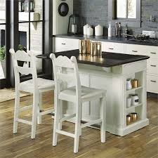 home styles fiesta granite top kitchen island with 2 stools in white