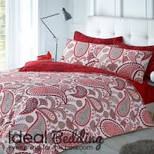 home paisley red duvet quilt bedding cover and pillowcase bedding set previous next