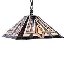 chloe lighting denton tiffany style 2 light mission hanging pendant fixture