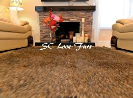 details about 5 x 6 black tip coyote wolf accent faux fur rectangle area rug sc love furs