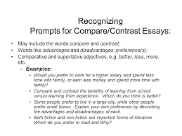 compare contrast essay main objectives discuss the ways that  recognizing prompts for compare contrast essays include the words compare and contrast