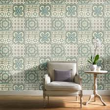 Moroccan Tile Pattern Beauteous Grandeco Botanical Moroccan Tile Pattern Wallpaper Retro Floral