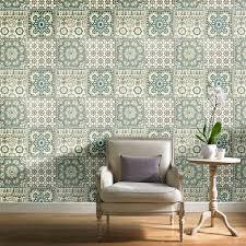 grandeco botanical moroccan tile pattern wallpaper retro fl textured motif ba2502