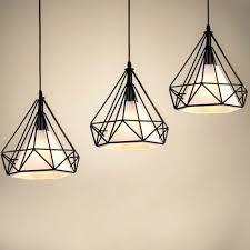 details about industrial diamond cage pendant light modern vintage iron ceilig lamp chandelier