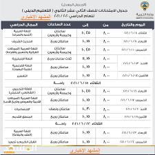 جدول امتحانات الثانوية العامة 2021 الكويت حصريا – ملون