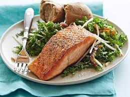 pan seared salmon with kale and apple salad recipe food network kitchen food network