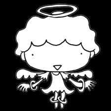 優しく微笑む天使の男の子塗り絵かわいい無料イラスト素材商用