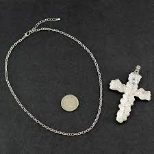 picture of necklace 20 inch silver chain with artistic silver cross adjustable