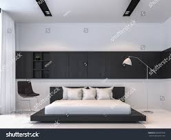 modern black white minimalist furniture interior. Modern Black And White Bedroom Interior Minimal Style 3d Rendering Image.There Are Floor Minimalist Furniture