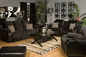 Modern Black Sofa Wooden Living Room Mor Furniture Portland Finished in White Color Equipped with Wooden Flooring