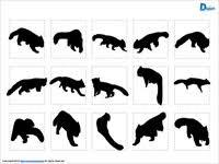 レッサーパンダのシルエットイラスト画像 パワーポイントフリー