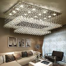 modern contemporary remote led crystal chandeliers with led lights for living room rectangular flush mount ceiling lighting fixture brushed nickel
