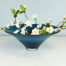 glass decorative bowls vintage teal art glass bowl decorative glass bowl clear teal large vintage centerpiece