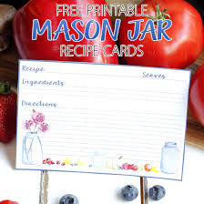 Free Printable Mason Jar Recipe Cards - The Cottage Market