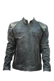 new men s moto black motorcycle real sheepskin antique leather cafe racer jacket front
