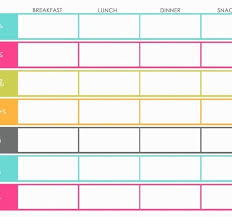 Weekly Menu Planning Template- Color Colorful- Breakfast, Lunch ...